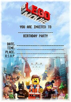 Lego Movie Theme Kids Childrens Party Invitations X 12 Invites For Parties](Movie Themes For Parties)