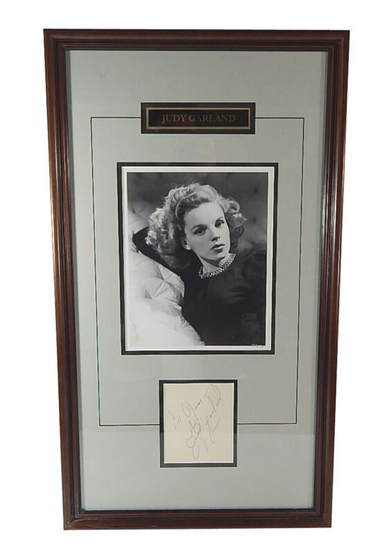 Judy Garland Signed & Framed Autograph Cut With 8x10 Photo JSA LOA