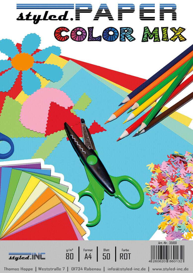Buntpapier Bastelpapier Farbiges Papier DIN A4 - 50 Blatt - ROT