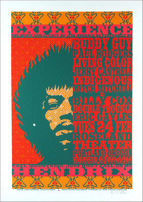Jimi Hendrix Poster Tribute Buddy Guy Signed Ltd Silkscreen by Gary Houston