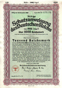 Original-Germany-NAZI-State-Deutschen-Reichs-1942-Bond-1000-RM-Uncancelled