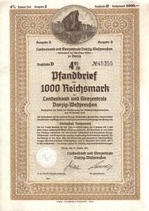 Poland-WWII-1941-Landesbank-Danzig-III-Reich-1000M-Rare