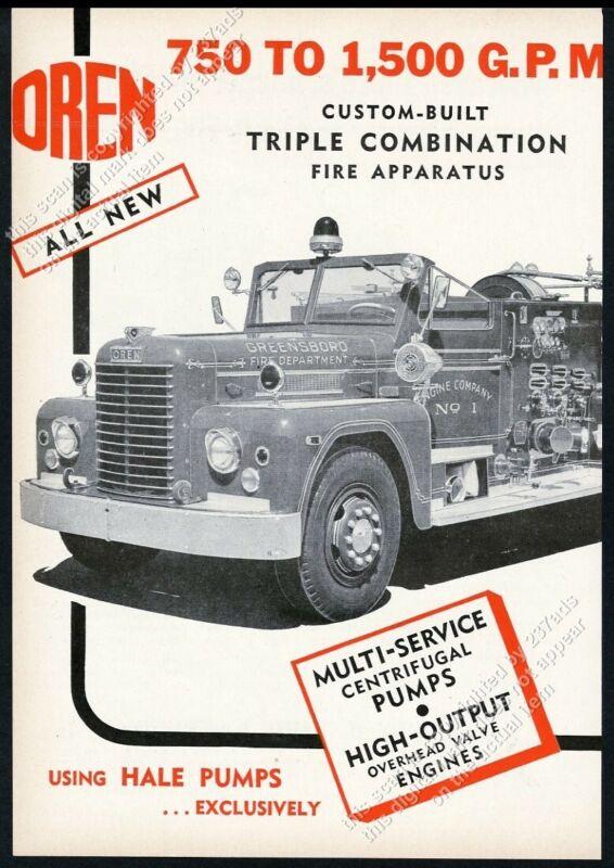 1955 Greensboro Fire Department fire engine Oren fire truck photo vintage ad