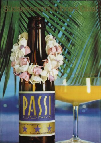 PASSI Beverages Vintage 1966 Swiss advertising poster 36x51 RARE NM