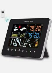SMARTRO Digital Projection Alarm Clock & Weather Station, Indoor Black Edition