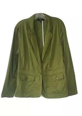 Womens sz Plus 16W Talbots Avocado Army Green Soft Blazer Jacket Button Fitted