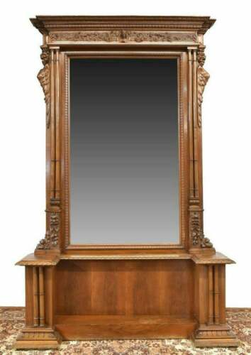 ANTIQUE CONSOLE MIRROR ENTRYWAY, ITALIAN RENAISSANCE REVIVAL CARVED CONSOLE, 19t