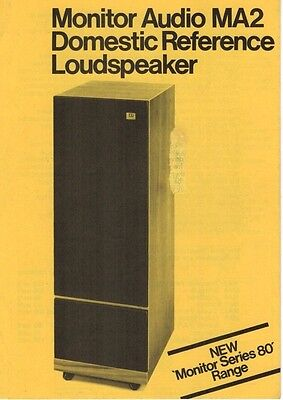 Monitor MA2 Domestic Reference Series 80 Loudspeaker Brochure / Leaflet    3193F
