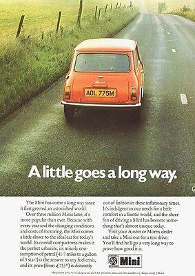 MINI AUSTIN MORRIS  BRITISH LEYLAND BMC  ADVERT POSTER PRINT FROM  1973