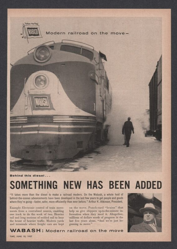 1957 Wabash Railroad Diesel locomotive train photo ad Vintage Advertising