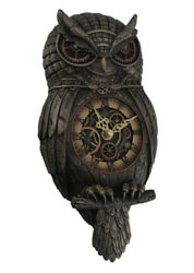 Metallic Bronze Finished Steampunk Owl Pendulum Wall Clock