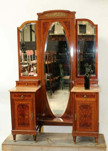 French Louis XVI Style Vanity with Folding Mirror