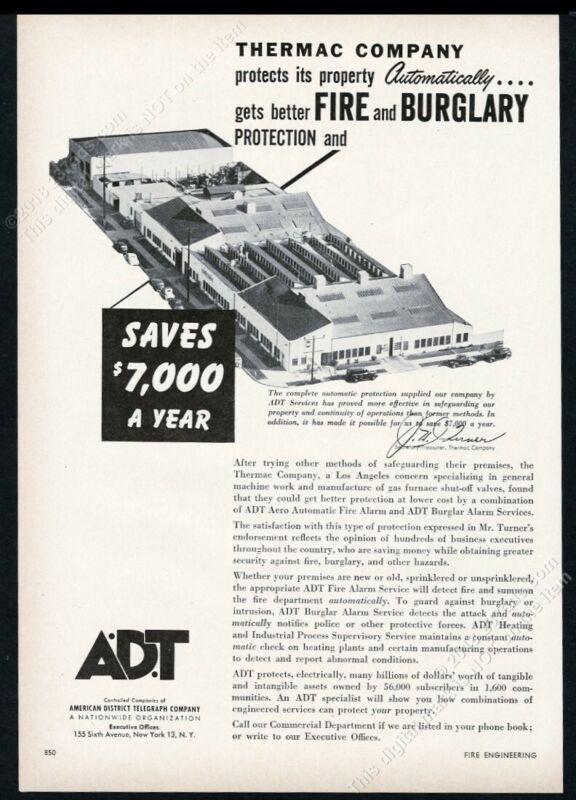 1954 ADT A.D.T fire burglar alarm Thermac valve building photo trade print ad