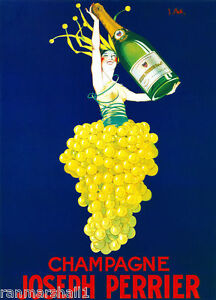 1900's Joseph Perrier Champagne Wine France French Advertisement Art Poster