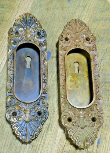 LARGE BRANFORD CAST BRONZE POCKET DOOR PLATE SET  (12578-2)