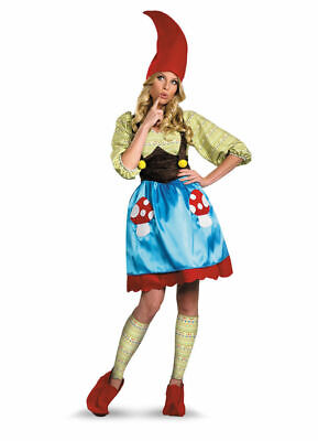 Ms. Garden Gnome Fancy Dress Mushroom Costume Womens Adult Halloween SM-XL](Gnome Costumes)