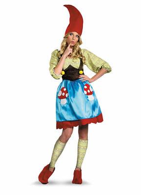 Ms. Garden Gnome Fancy Dress Mushroom Costume Womens Adult Halloween SM-XL