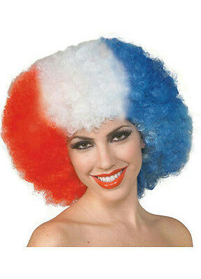 America The Beautiful Red White and Blue 4th of July Patriotic Adult Afro Wig - Red White And Blue Wig