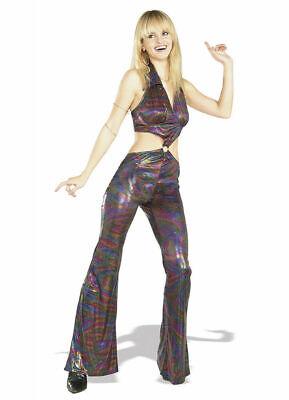 70's-80's Disco Jumpsuit Multi Color Metallic Swirl Halter Style Costume Med