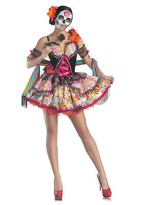 DAY OF THE DEAD DIA DE LOS MUERTOS ADULT WOMENS SEXY COSTUME MEXICO SKELETON