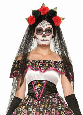 Adult Day of the Dead Black Veil Headband with Flowers (Black Veil Headband)