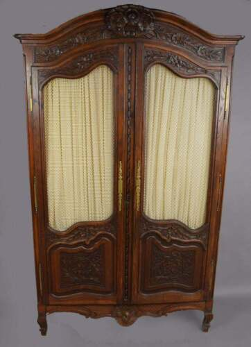 Antique Oak French Provincial Country Highly Carved Oak Armoire