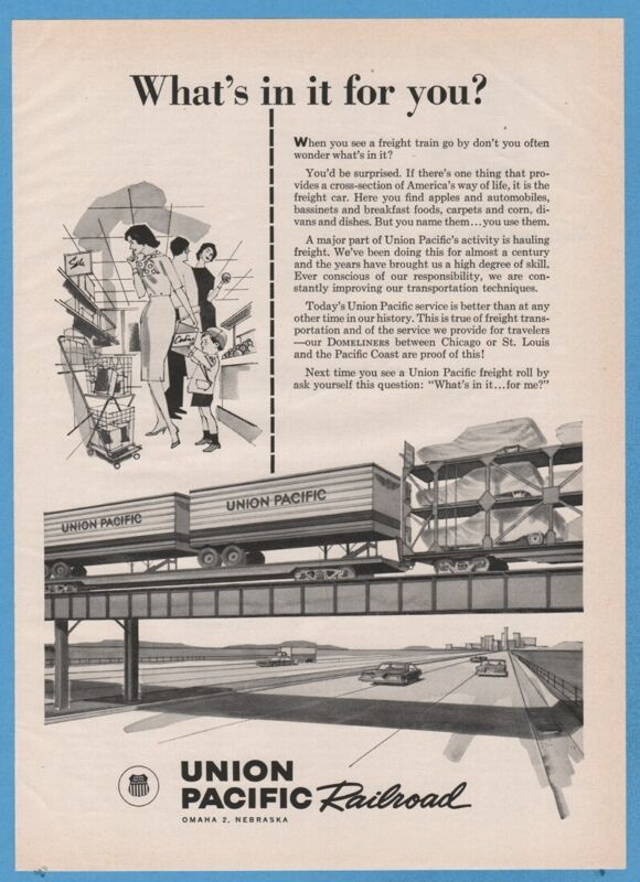 1961 Union Pacific Piggyback Freight Train Car Hauler GREAT Railroad Art Ad