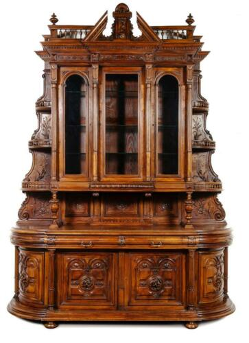 Outstanding French Renaissance Revival Carved Walnut Server, 19th C. (1800s)!!