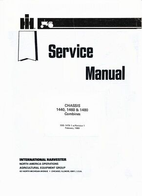 International Harvester Chassis 1440 1460 1480 Combine Service Manual Gss1479
