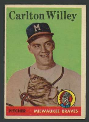 1958 Topps  407 Carl Willey Exmt Exmt  Rc Rookie Braves 29108