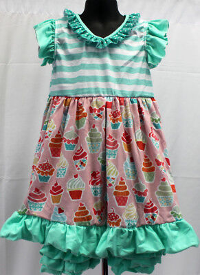 NWT Girls size 4 ADORABLE 2 Piece RUFFLED Green Shorts & CUPCAKE Top Outfit 4