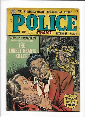 "POLICE COMICS #122 [1952 GD-VG] KEN SHANNON ""THE LONELY HEARTS KILLER"""