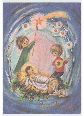 1967 Weihnachten Postkarte Comet Jesus Kind Lamm Musik Mandoline