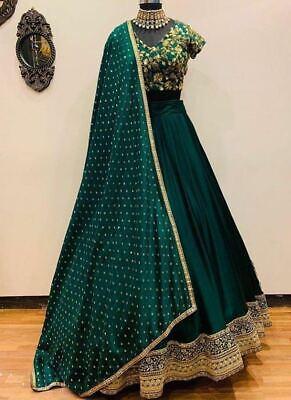 Verde Lehenga Choli Boda India Ropa Lengha Chunri Set Diseñador Sari