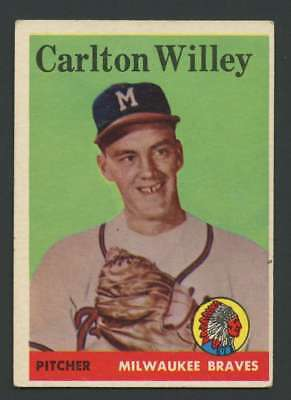 1958 Topps  407 Carl Willey Ex Ex  Rc Rookie Braves 29018
