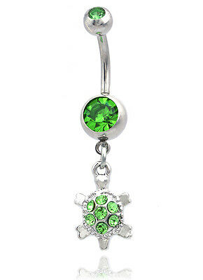 Lime Green Turtle Dangle Charm Navel Belly Button Ring Body Piercing Jewelry