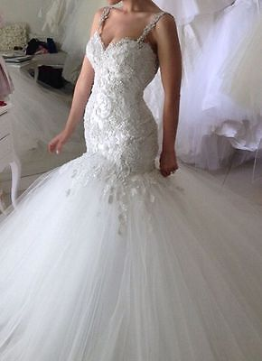 New Mermaid Wedding Dress Lace Tulle Bridal Gown Custom Size 4 6 8 10 12 14 16