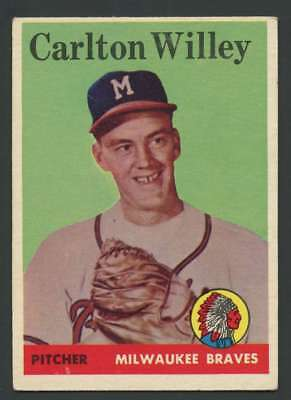 1958 Topps  407 Carl Willey Exmt Exmt  Rc Rookie Braves 29109