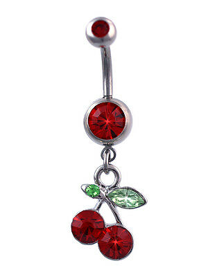 - Red Cherry Charm Dangle Navel Belly Ring Red Barbell Body Piercing Jewelry