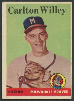 1958 Topps  407 Carl Willey Ex Ex  Rc Rookie Braves 29110