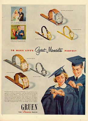1950 vintage Ad, GRUEN Watches, Graduation Gifts -092613