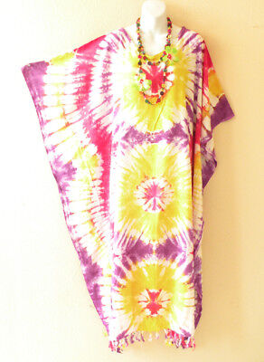 KD244 Tie Dye Caftan Plus Kaftan Tunic Hippy Maternity Maxi Dress - up to 5X  (Hippy Dress Up)