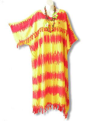 KD110 Tie Dye Kimono Plus Size Kaftan Tunic Hippy Maternity Dress - up to 5X  (Hippy Dress Up)