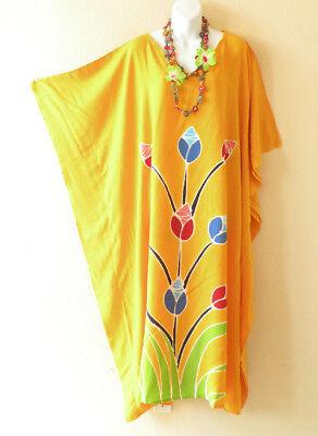 KD228 Batik Caftan Plus Size Kaftan Tunic Hippy Maternity Maxi Dress - up to 5X  (Hippy Dress Up)