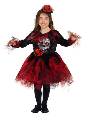 Girls Halloween Costume Skull Fancy Dress & Hat Red Black NEW AGE 4-6-8 (Halloween Costumes For Girls Age 4)