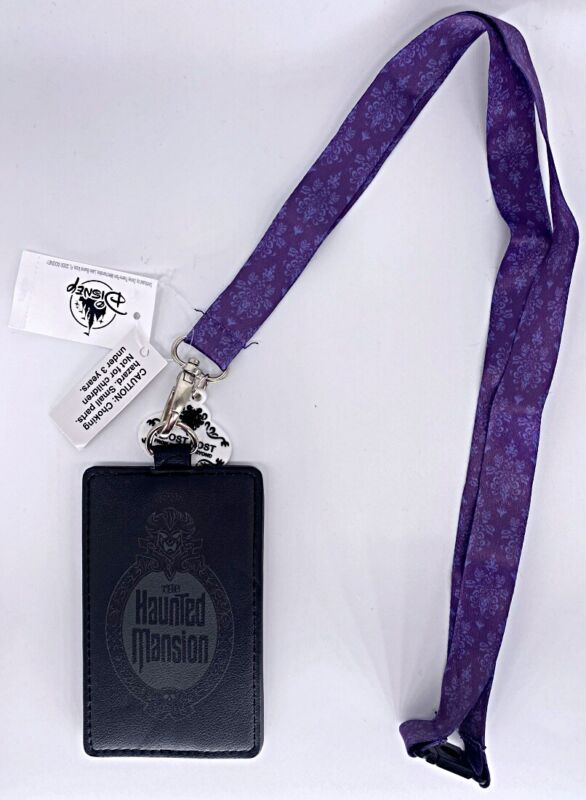 Disney Parks Haunted Mansion Ghost Host Lanyard Loungefly Badge Card ID Holder