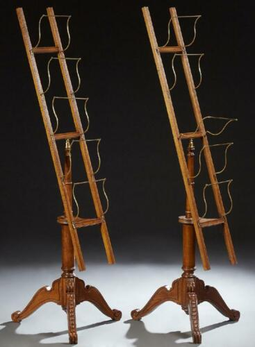 Pair of Birch and Brass Periodical Racks, Antique / Vintage