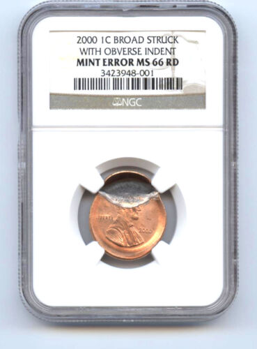 2000 Lincoln (1c) Broadstruck With Obverse Indent-ngc- Ms66 Rd-rare-mint Error-