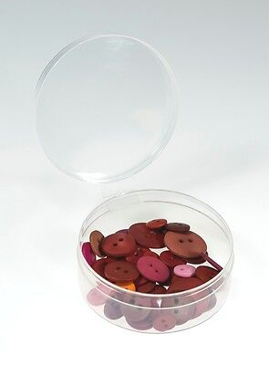 Pack of 12 - Clear, Round Plastic Containers with Attached Lids - Shuttle Cups