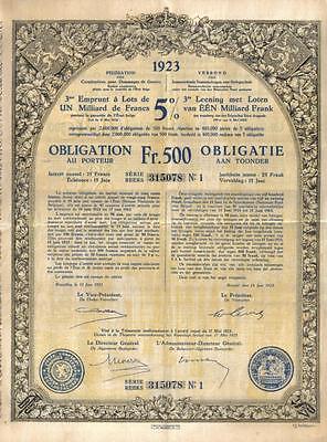 Kingdom Belgium 1923 State Loan Federation War Damage 500fr Uncancelled number 1